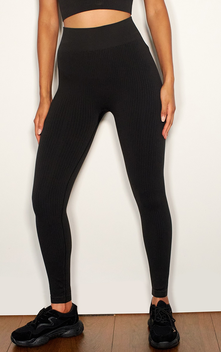Black Premium Ribbed Seamless Legging 2