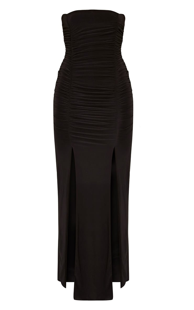 Nia Black Ruched Detail Split Maxi Dress 3