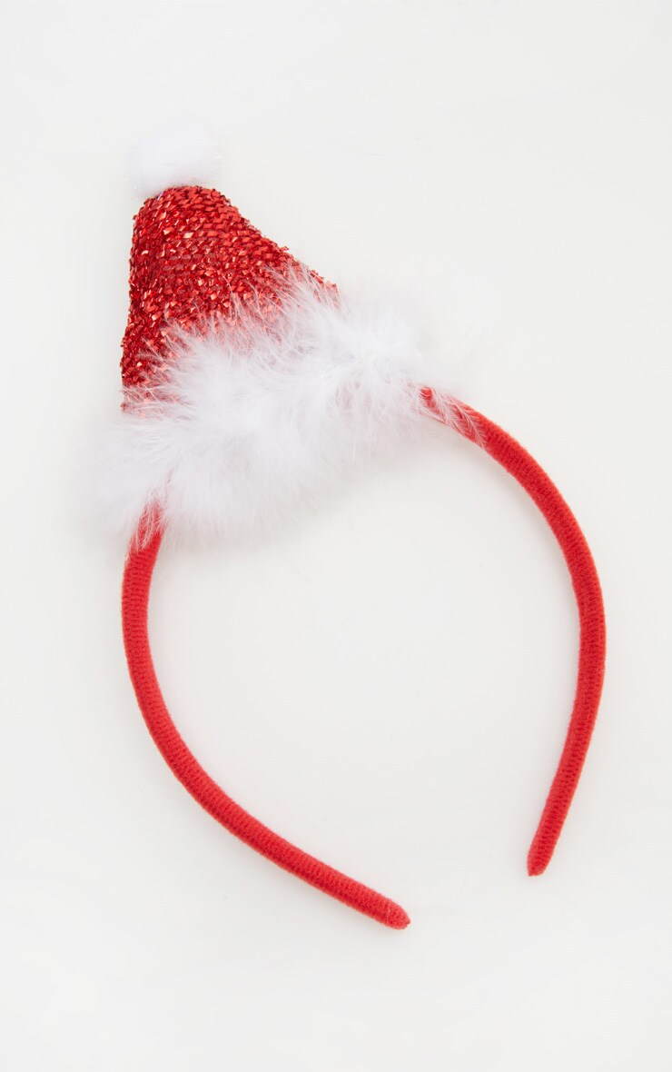 Red Christmas Glitter Santa Hat Headband 2