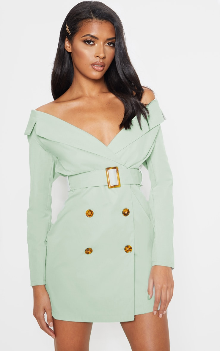 Sage Green Bardot Tortoise Button Belted Blazer Dress 1