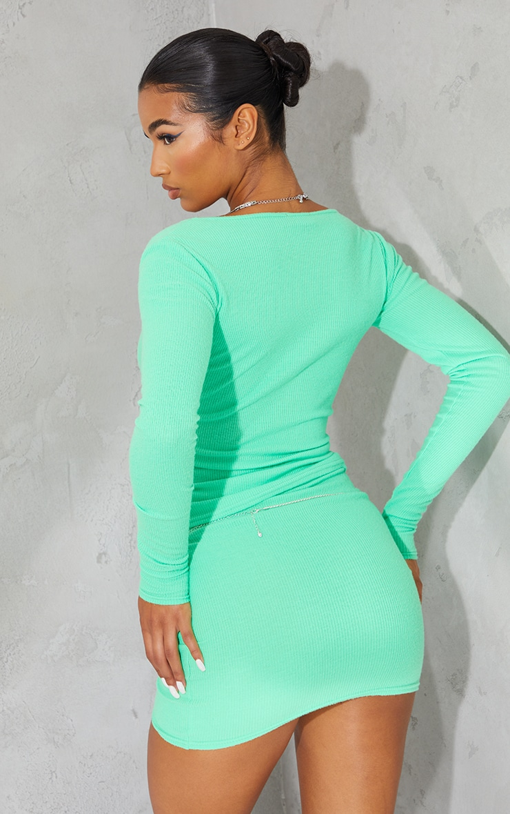 Bright Green Soft Brushed Rib Double Zip Front Top 2