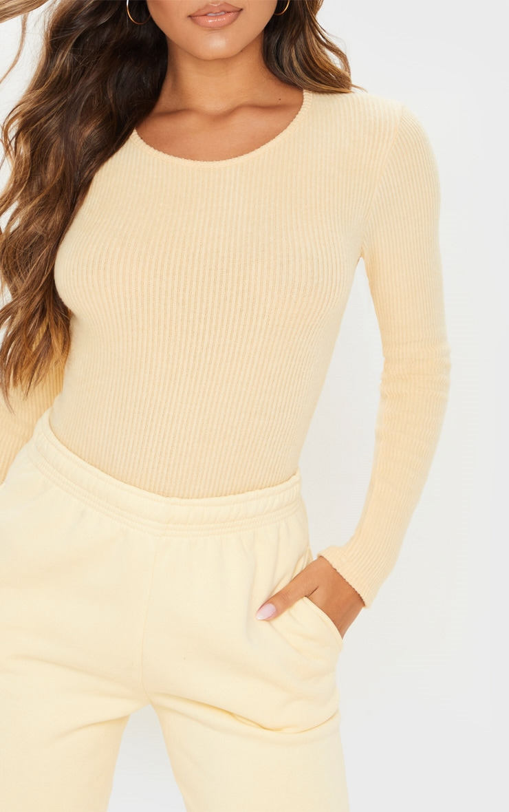 Sand Brushed Rib Crew Neck Long Sleeve Bodysuit 6