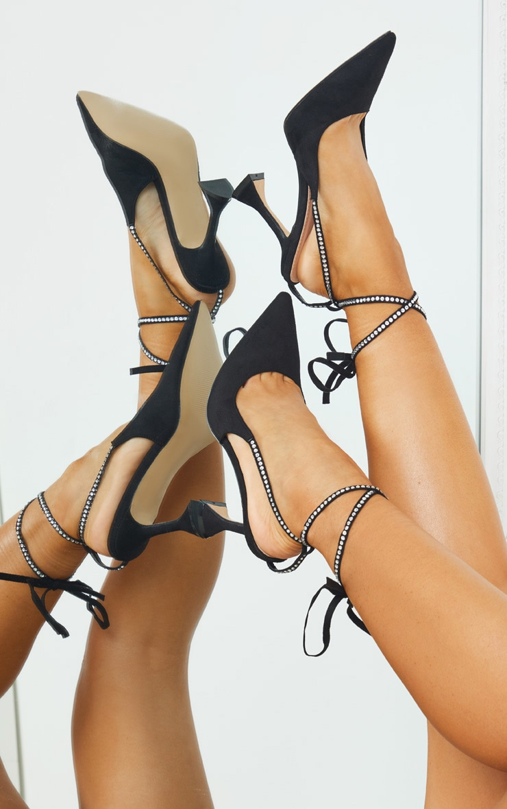 Black Suede Pointed Toe Diamante Lace Up High Heels 1