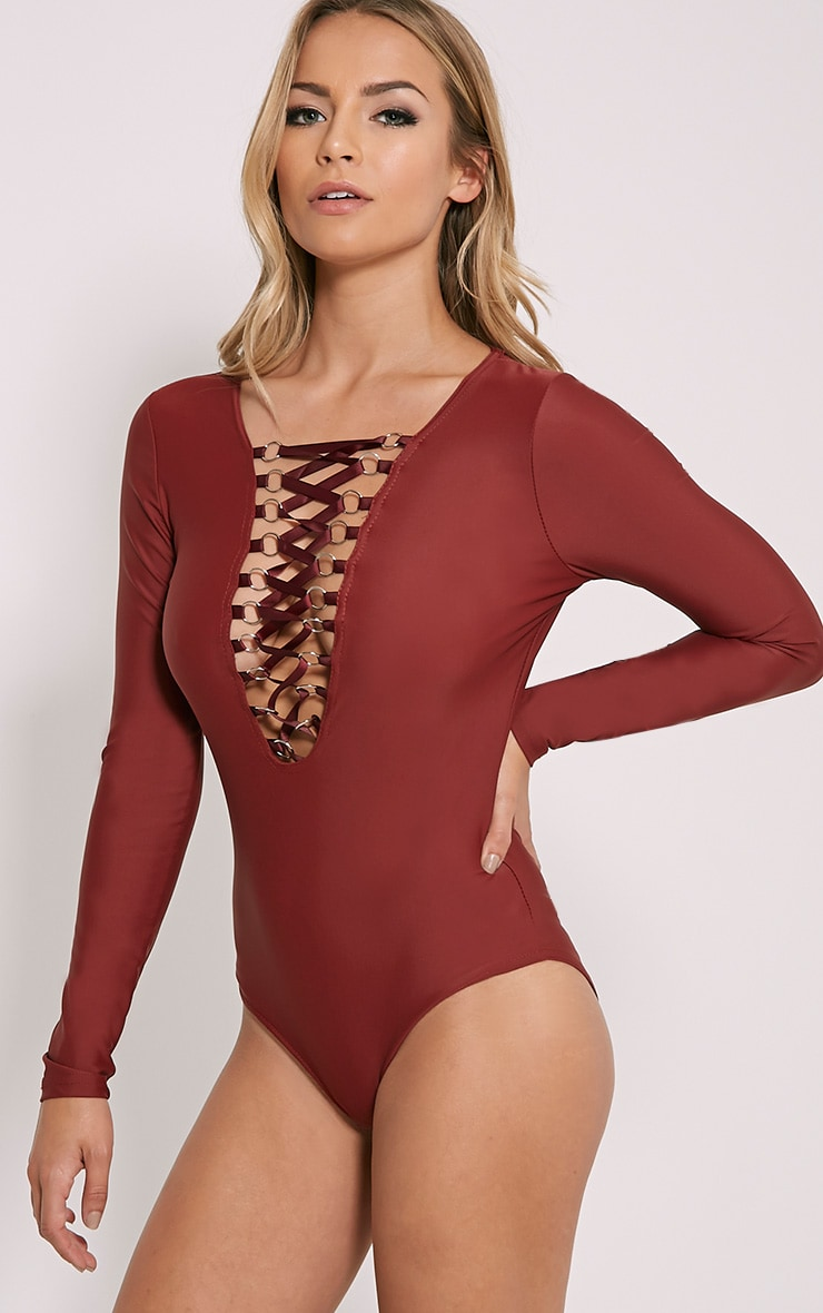 Enya Wine Lace Up Front Bodysuit 6