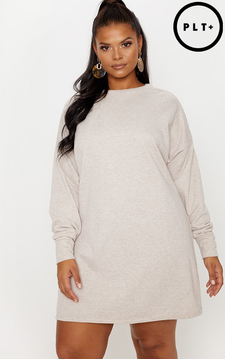 Plus Stone Oversized Sweater Dress