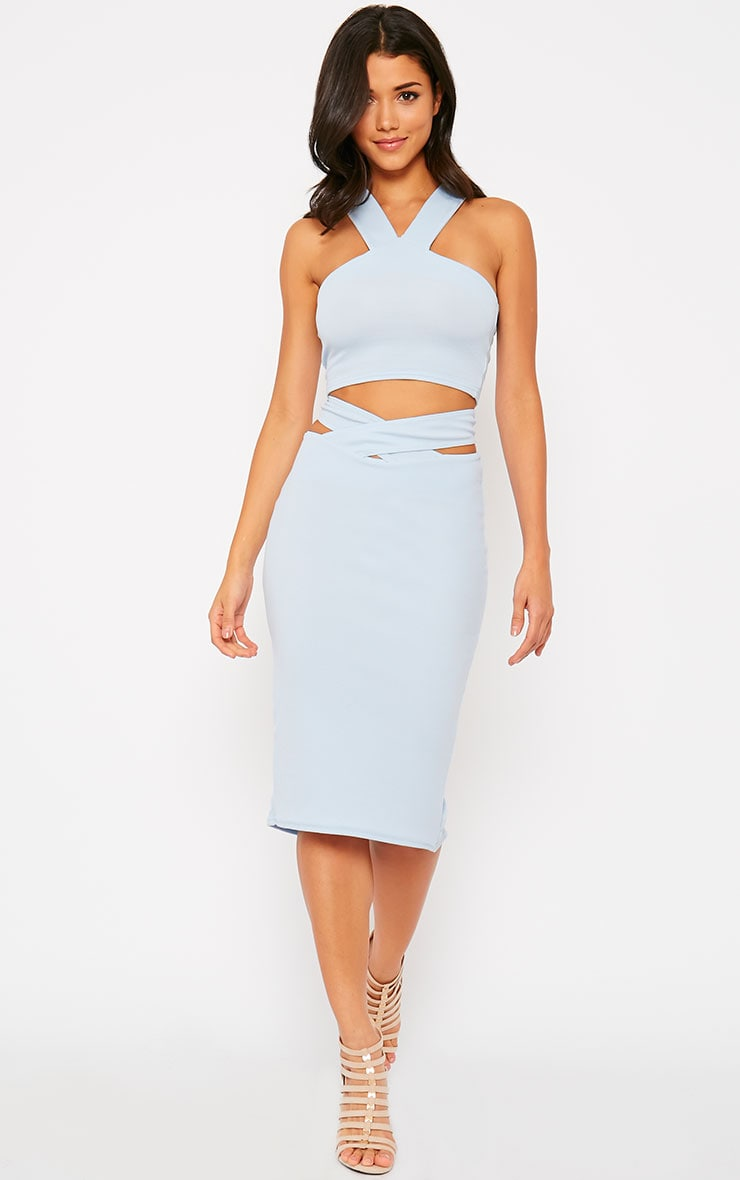 Shanel Blue Cut Out Midi Skirt 1