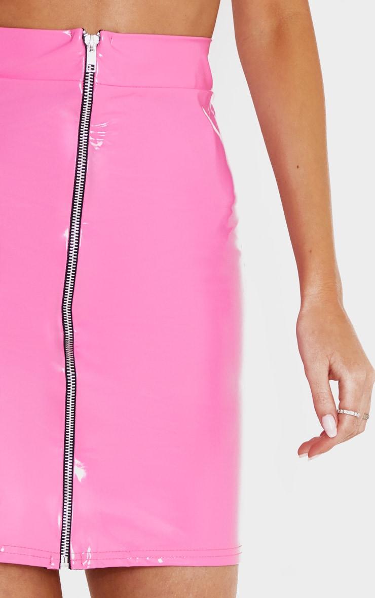 Hot Pink Vinyl Contrast Mini Skirt 6