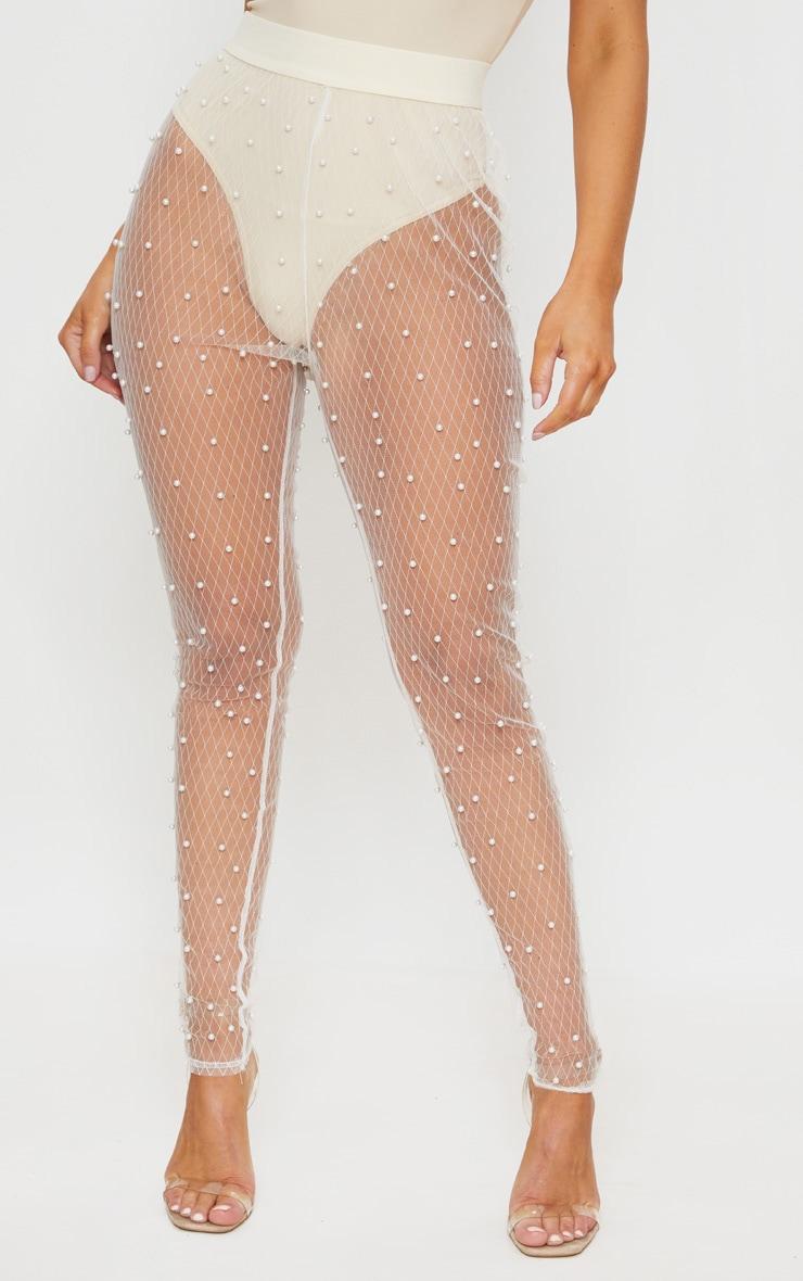 Pantalon skinny en mesh crème perlé 2