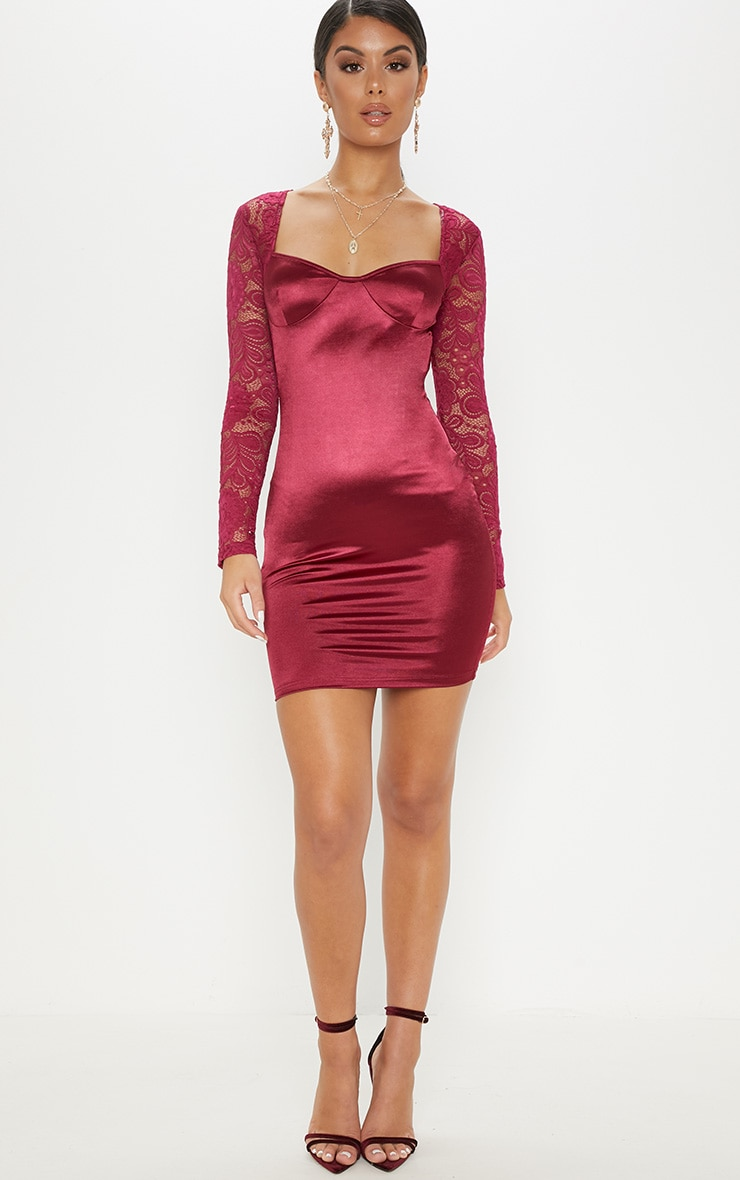 Plum Satin Lace Sleeve Bodycon Dress 4