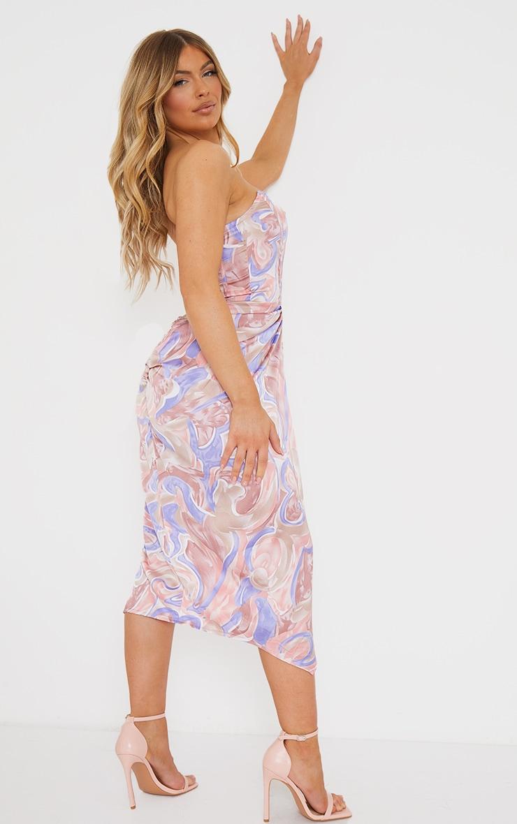 Multi Swirl Print Corset Draped Bandeau Midi Dress 2