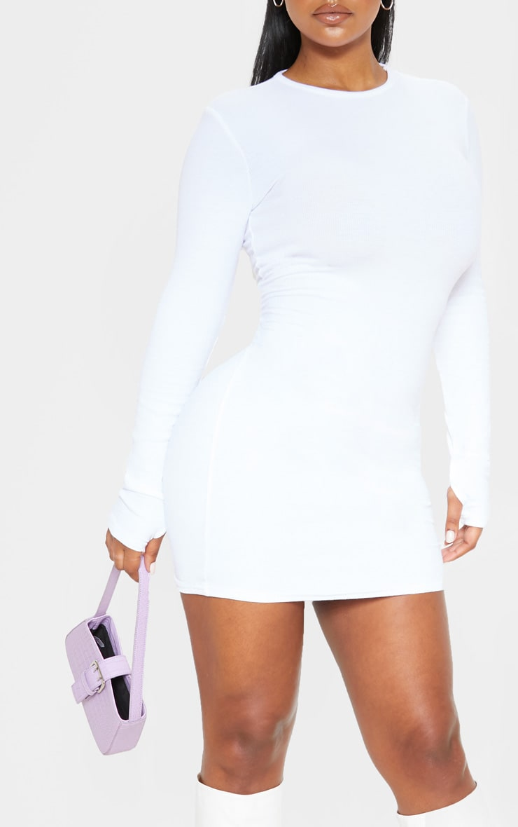 White Long Sleeve Thumb Hole Bodycon Dress 5
