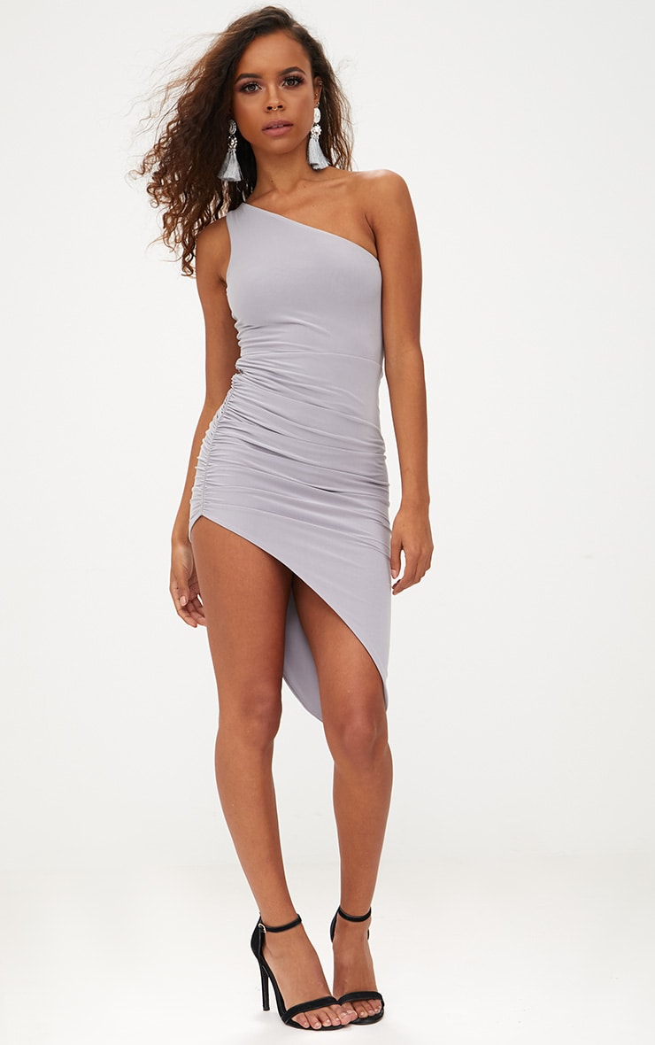 Petite Ice Grey Slinky One Shoulder Asymmetric Ruched Dress 4