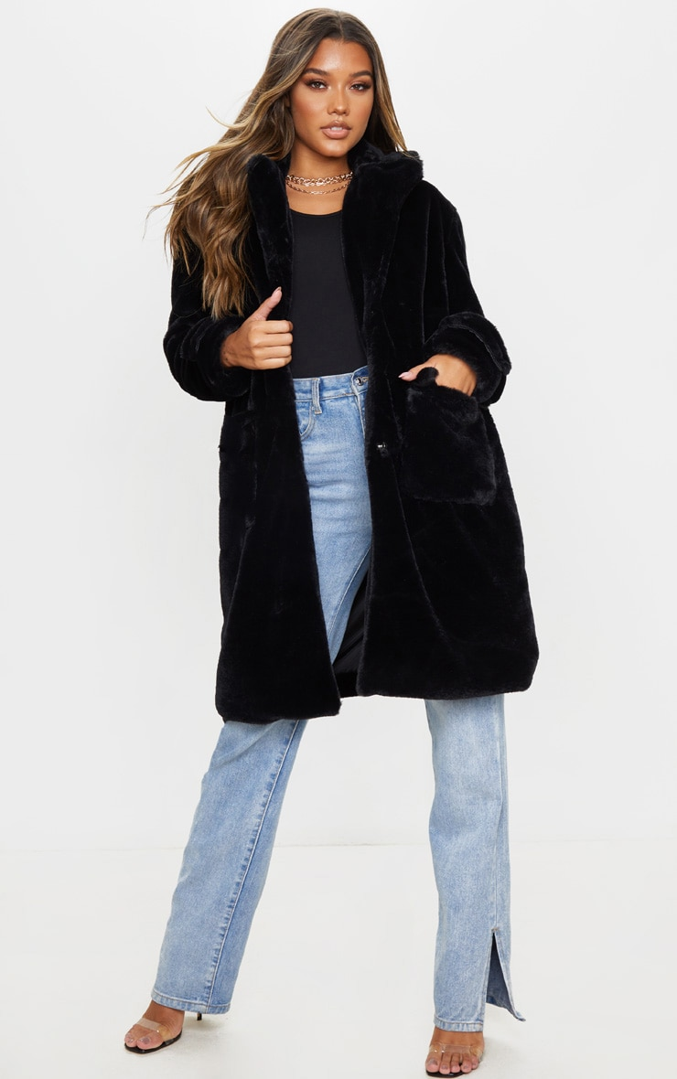 Manteau style militaire noir en fausse fourrure 1
