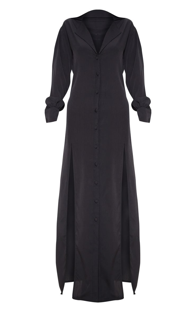 Black Split Front Maxi Shirt Dress 3