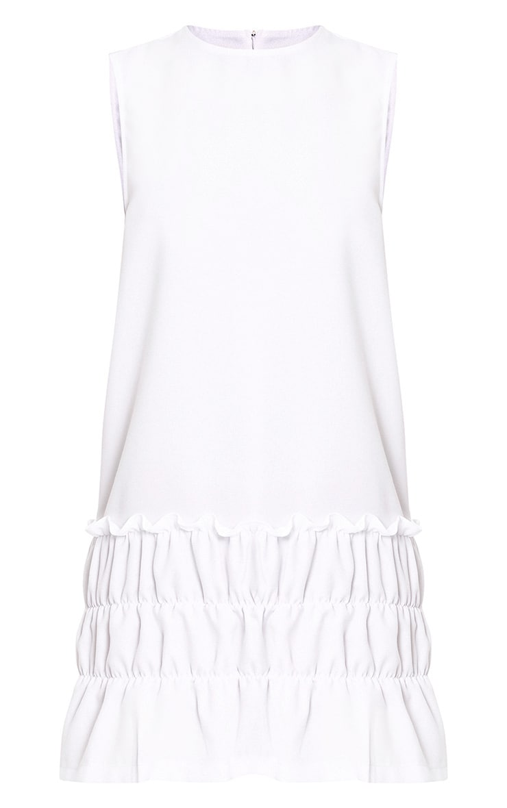Salinda White Sleeveless Ruffle Detail Shift Dress  3