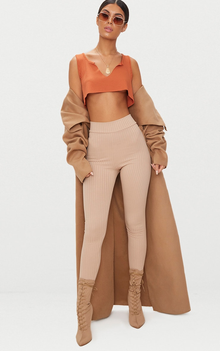 Burnt Orange Rib Deep V Raw Edge Crop Top  4