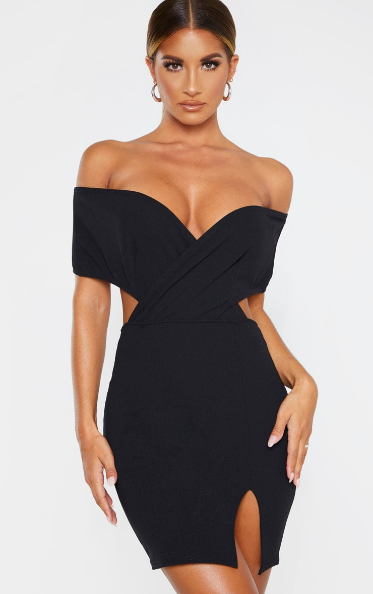Black Bardot Thigh Split Bodycon Dress 1
