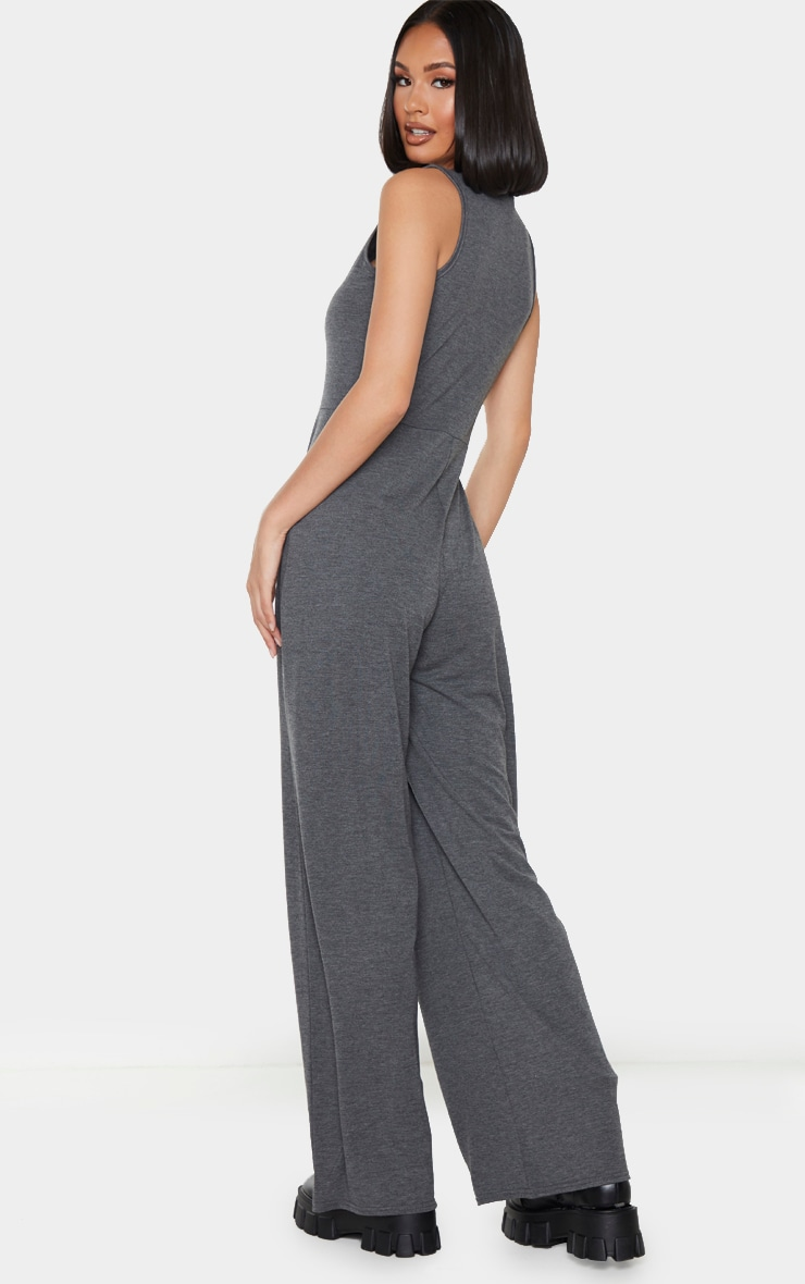 Grey Wide Leg Jersey Jumpsuit 2