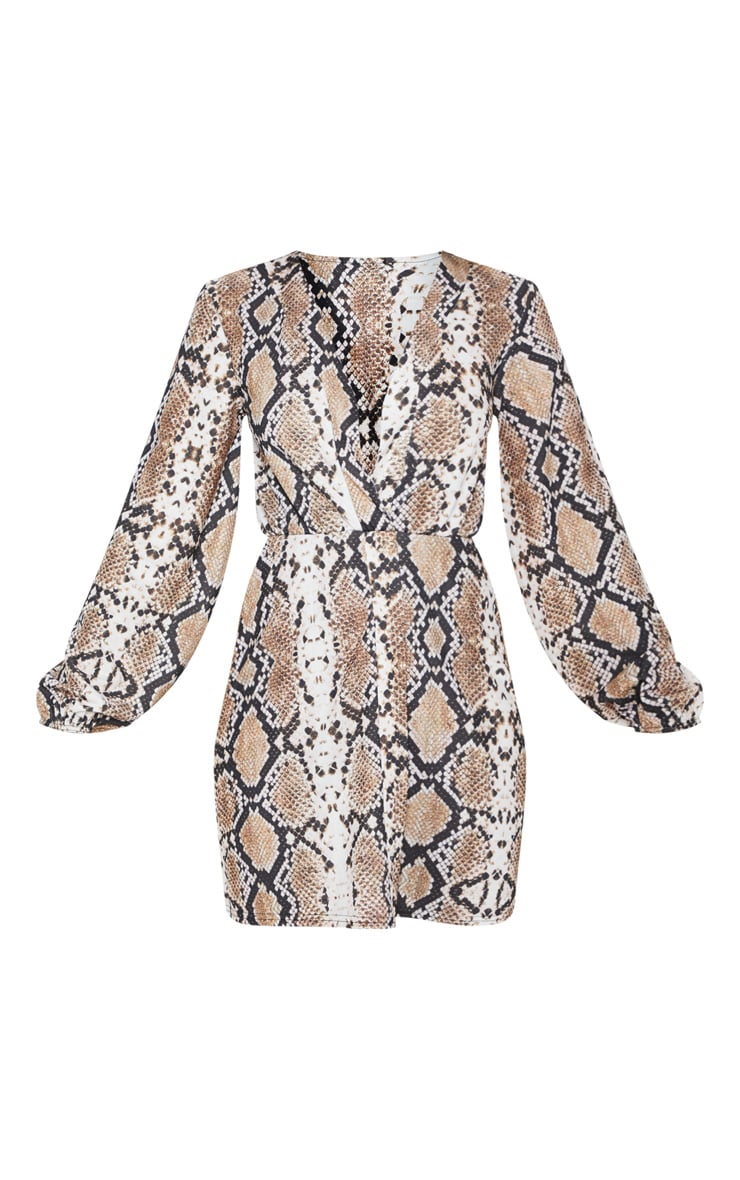 Tan Snake Print Plunge Shift Dress 4