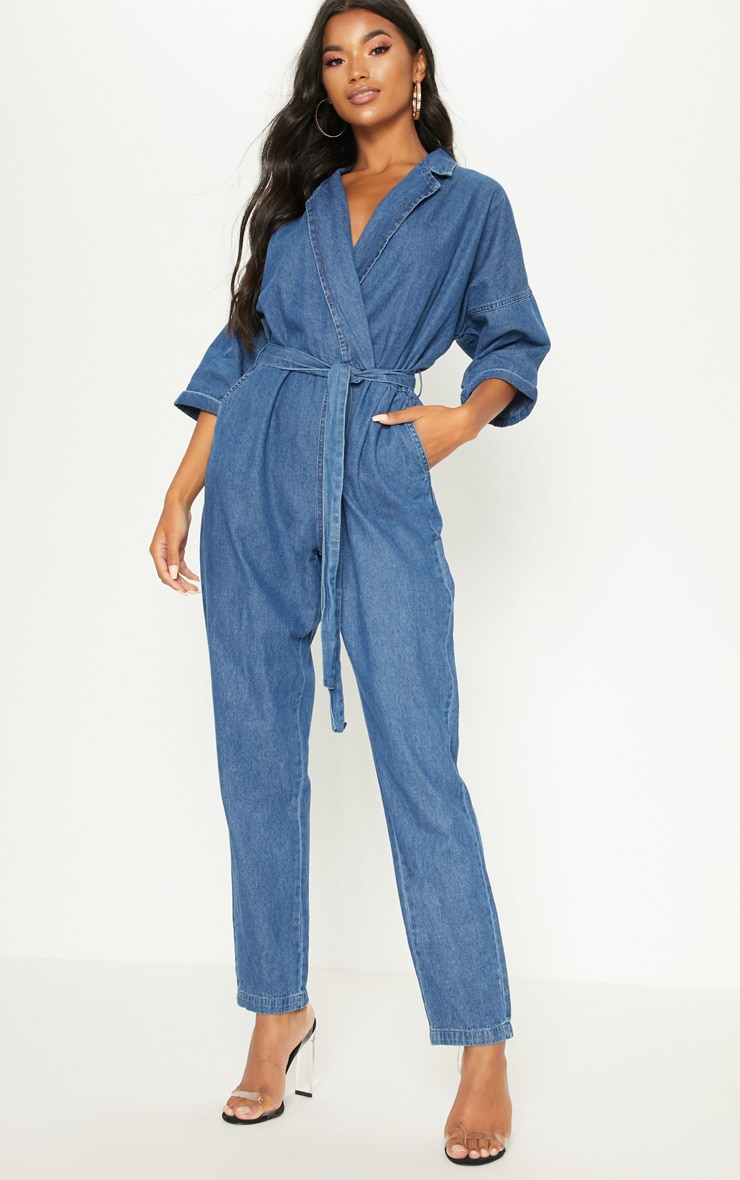 Denim Mid Wash Utility Jumpsuit