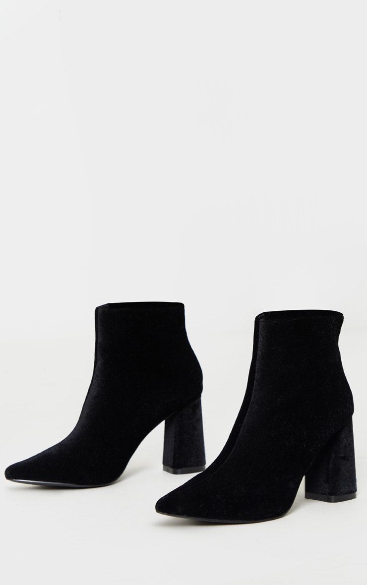 Black Velvet Block Heel Ankle Boot 3