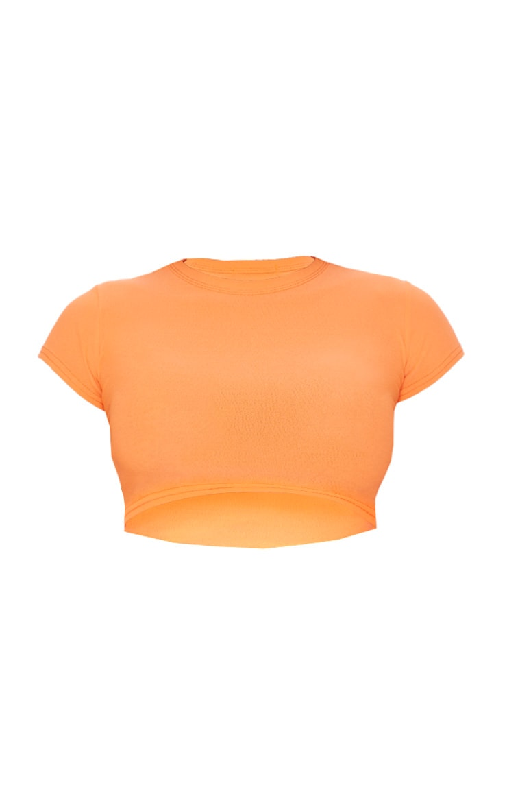 Basic Neon Orange Short Sleeve Crop T Shirt 3