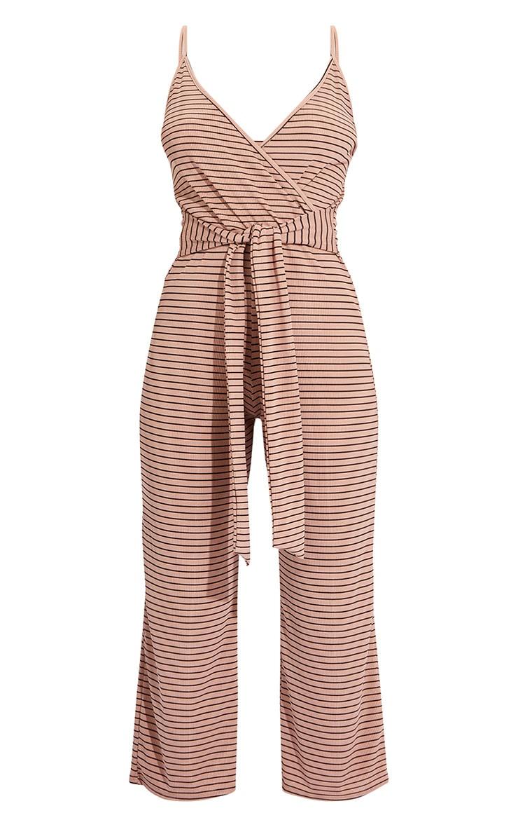 Sand Stripe Rib Strappy Wrap Culotte Jumpsuit 5