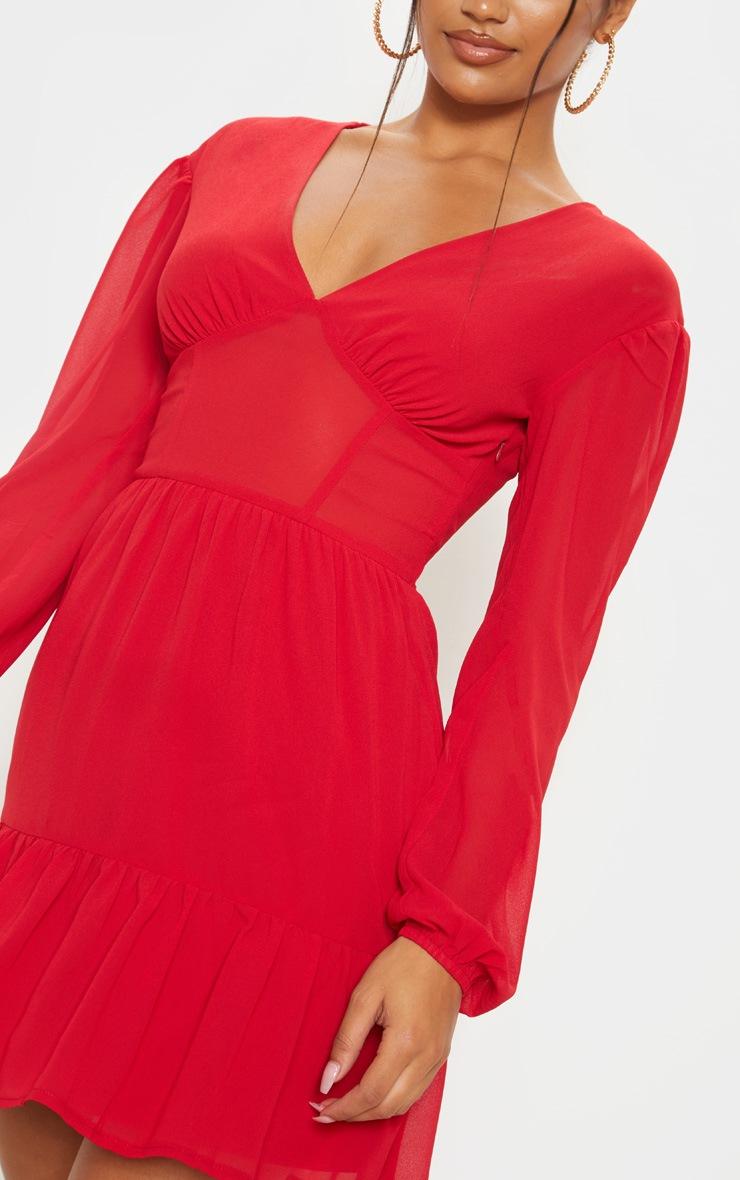 Red V Neck Woven Frill Hem Bodycon Dress 5