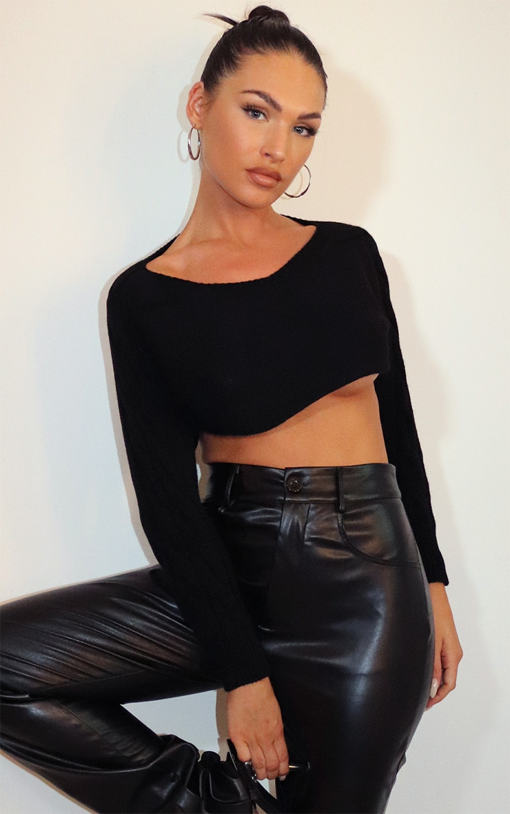 Black Super Crop Cable Sleeve Batwing Sweater 1