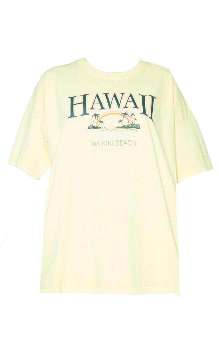Yellow Hawaii Beach Print Washed T Shirt 5