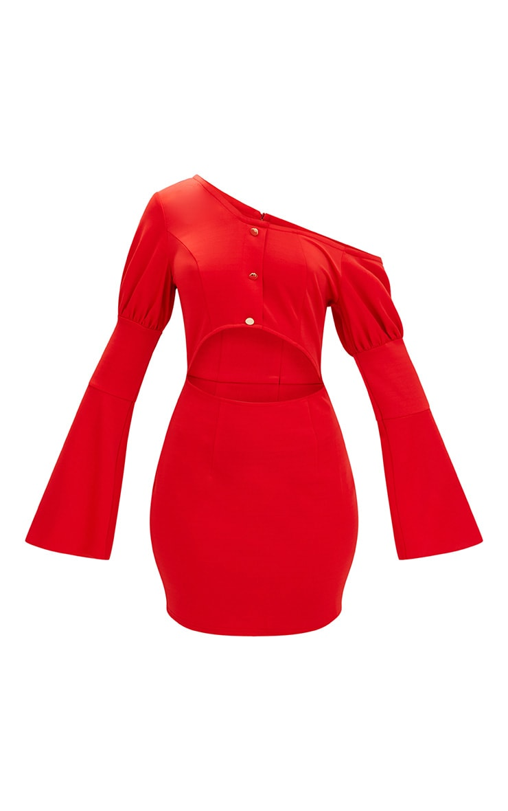 Red One Shoulder Balloon Sleeve Cut Out Bodycon Dress 3