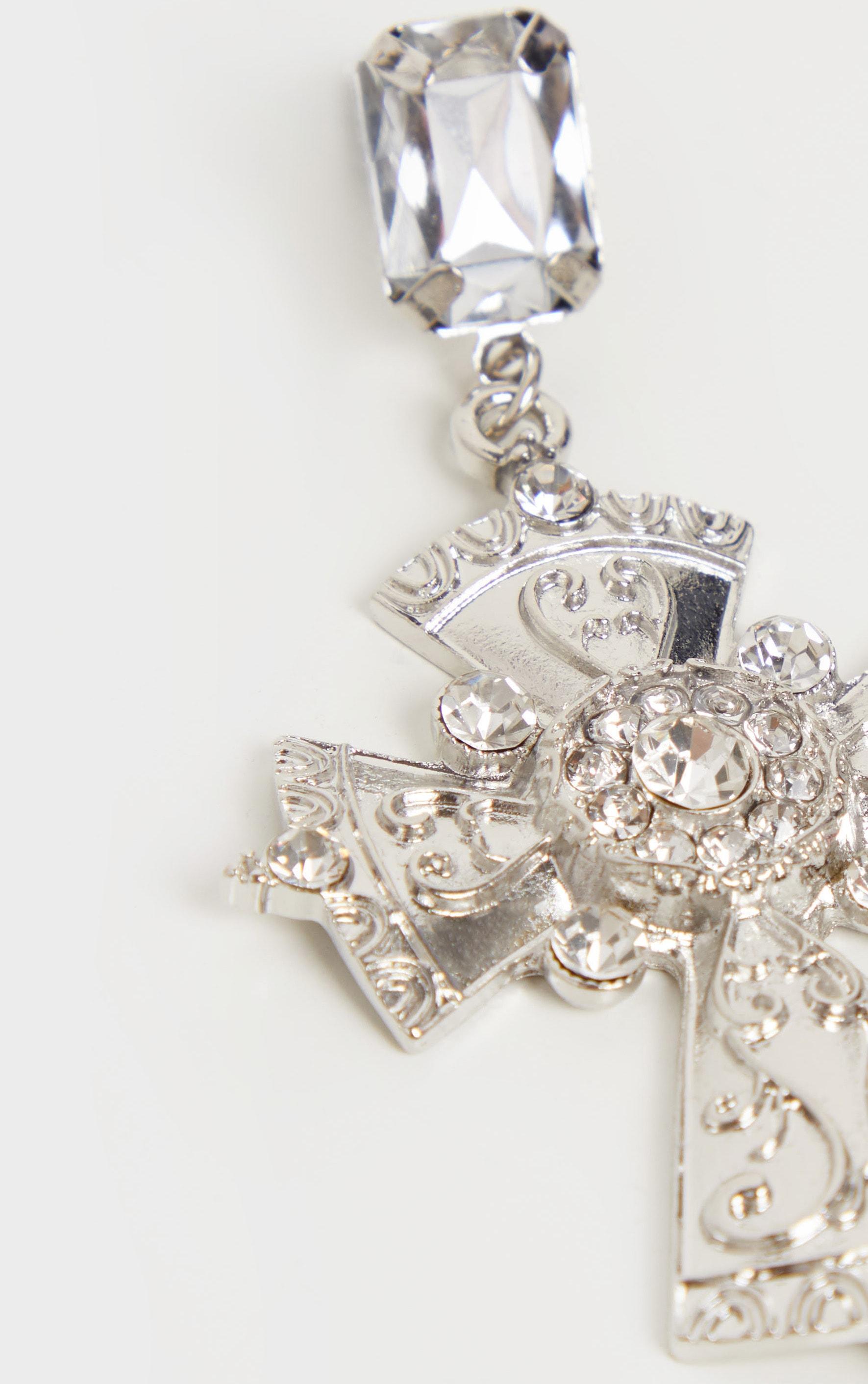 Silver Crystal Drop Cross Earrings 3