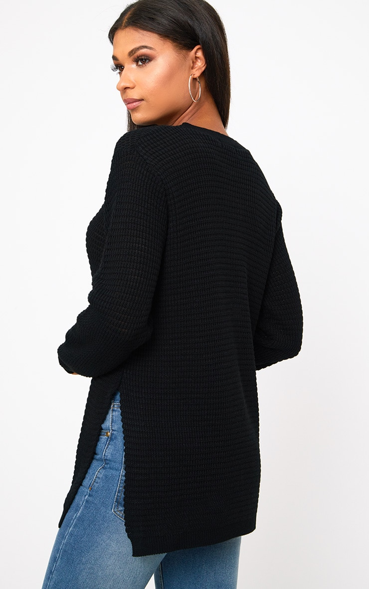 Black Purl Knit Jumper 1