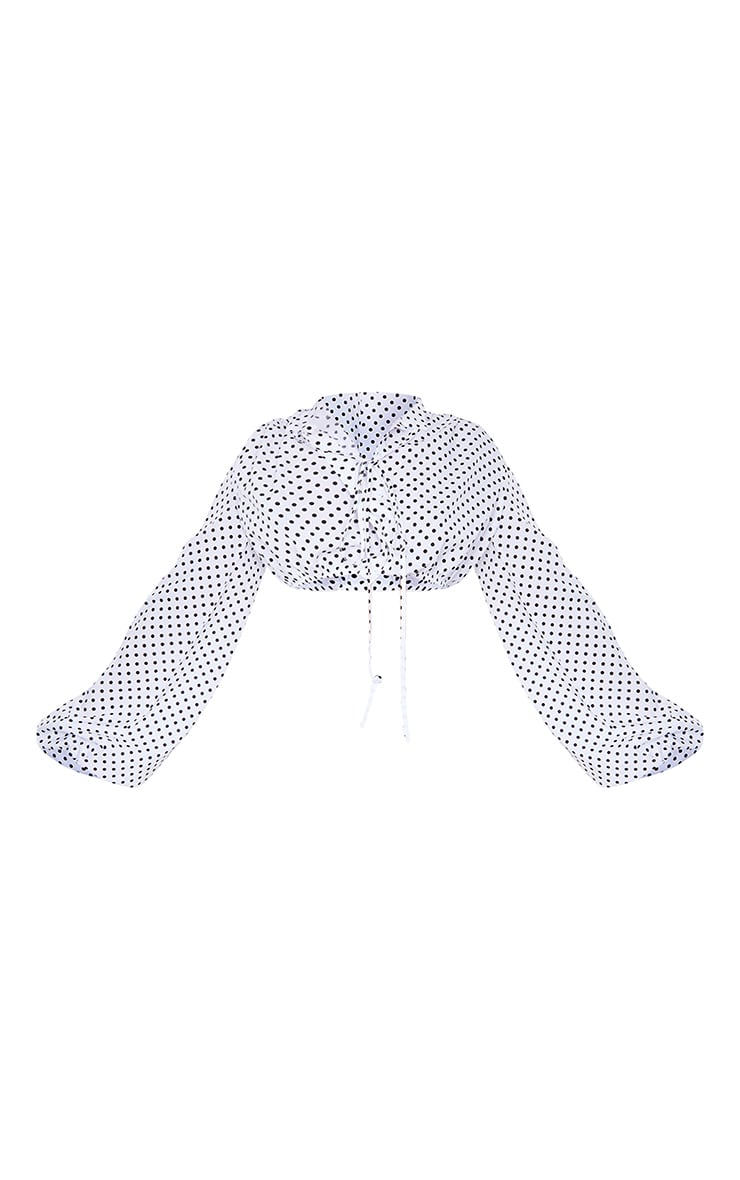 White Polka Dot Extreme Balloon Sleeve High Neck Cropped Shirt 5