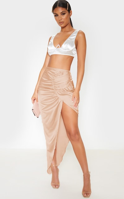 Champagne Satin Pleat Detail Midaxi Skirt