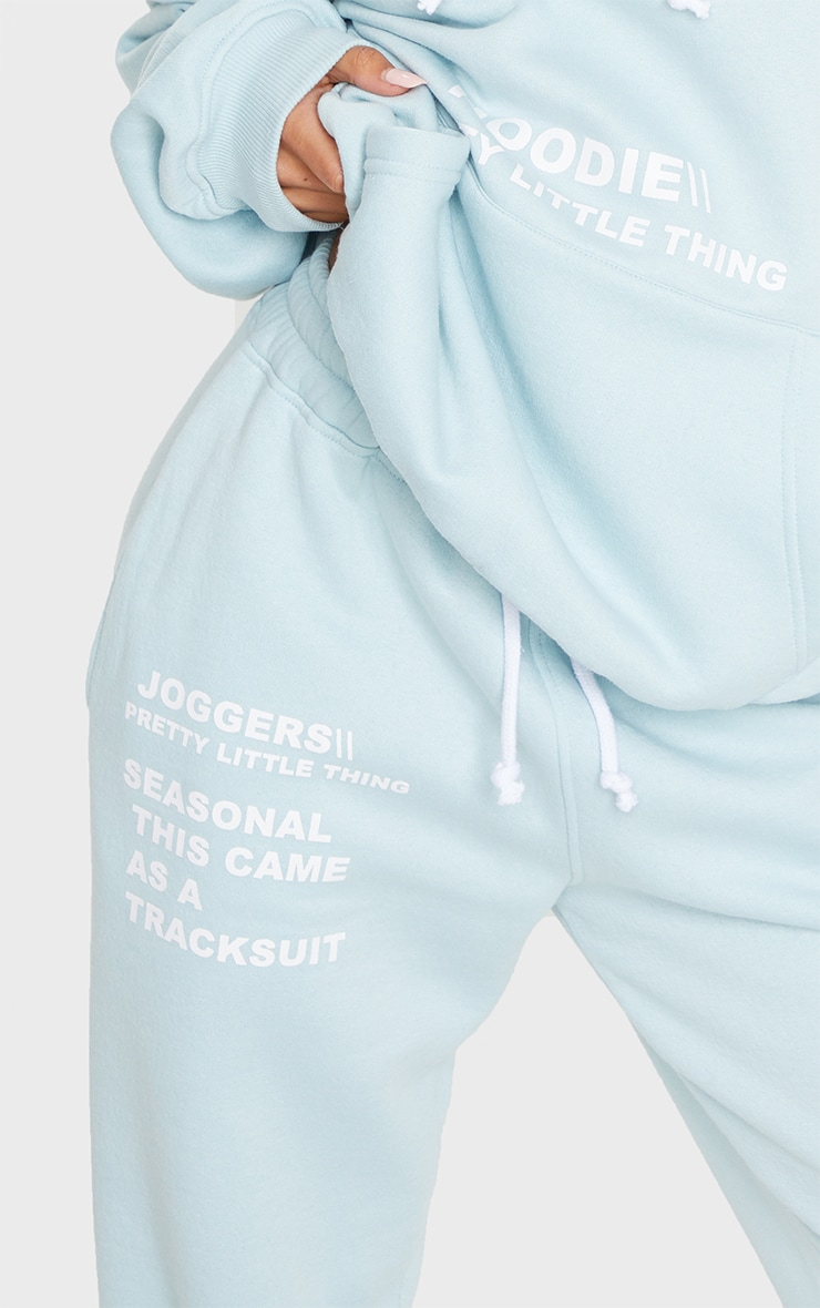 PRETTYLITTLETHING Light Blue Haze Slogan Print Jogger 4