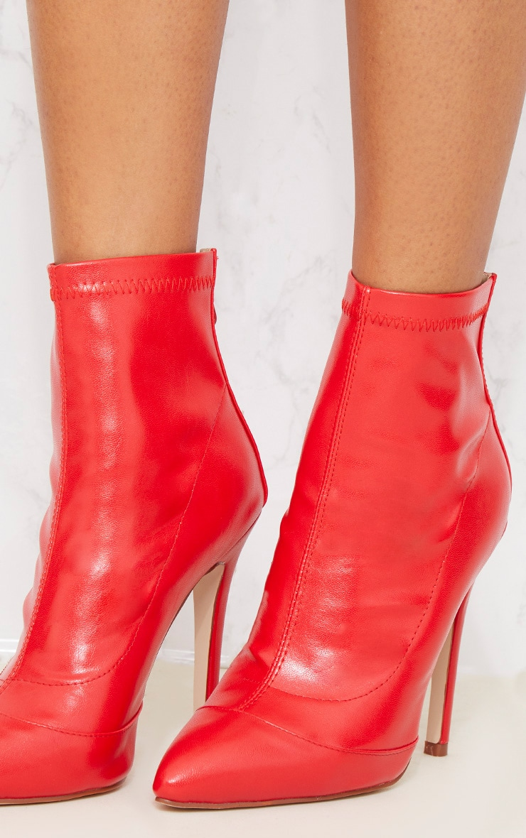 Red PU Ankle Sock Boot 6
