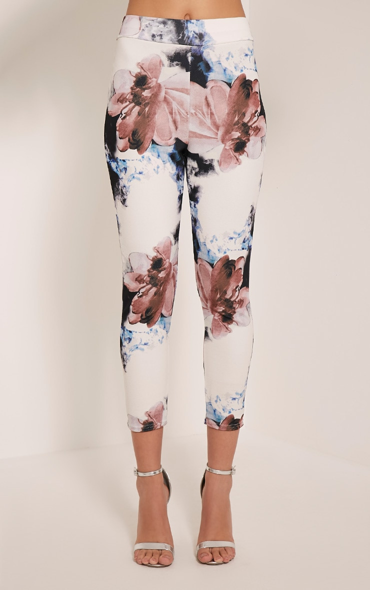 Natillia Navy Floral Cropped Trousers 2