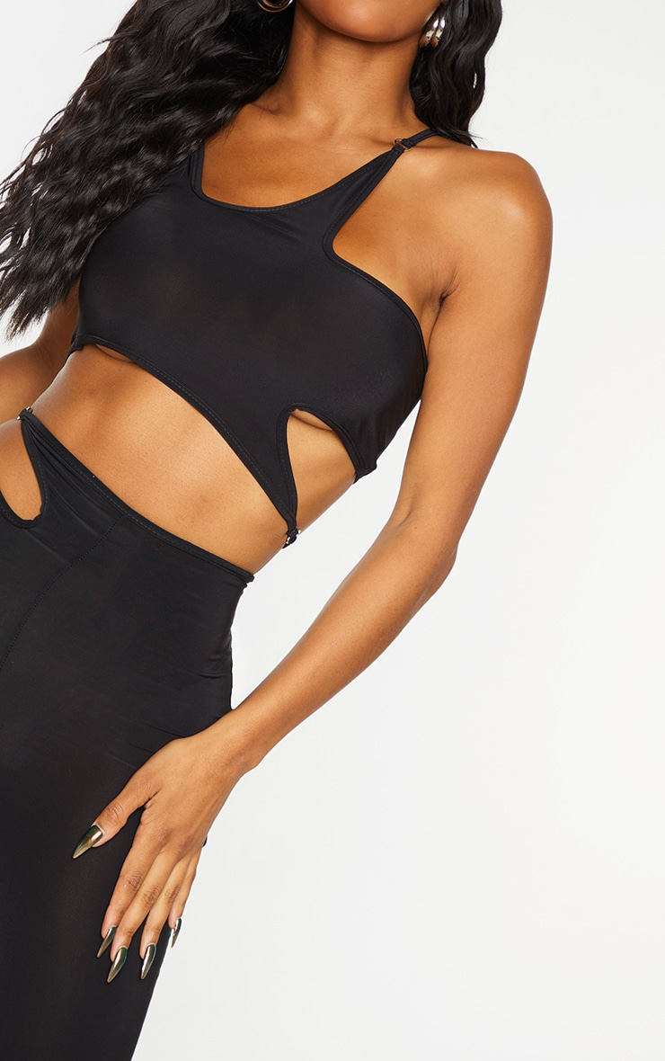 Shape Black Slinky Ring Detail Strappy Crop Top 4