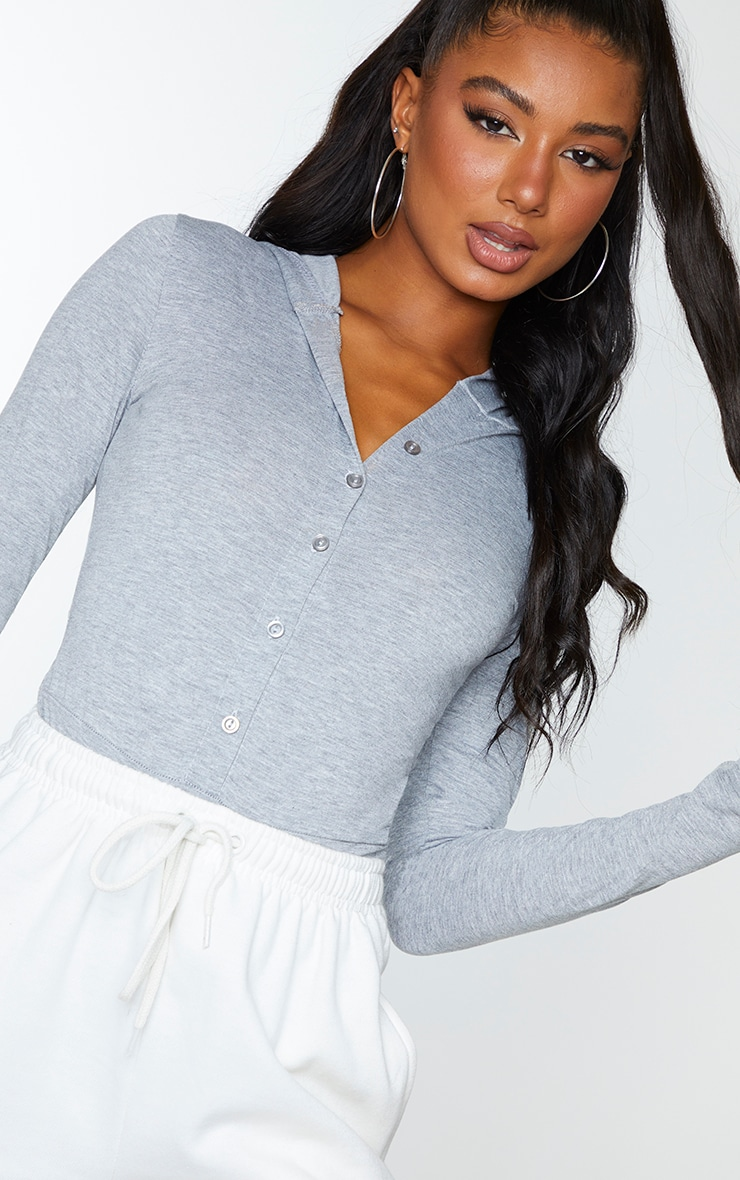 Grey Jersey Button Up Hooded Bodysuit 4