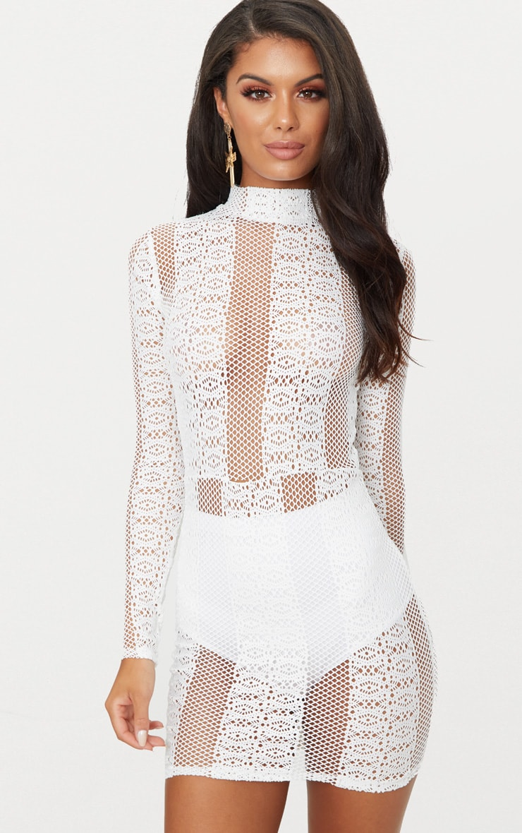 Authentic Cheap Online White Lace Sheer High Neck Bodycon Dress Pretty Little Thing Free Shipping Cheap Real Wholesale Online Free Shipping Limited Edition Outlet Best Wholesale 0hiRy