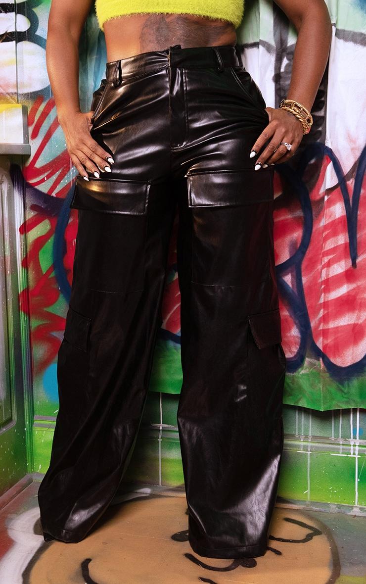 Black PU Pocket Detail Wide Leg Pants 3