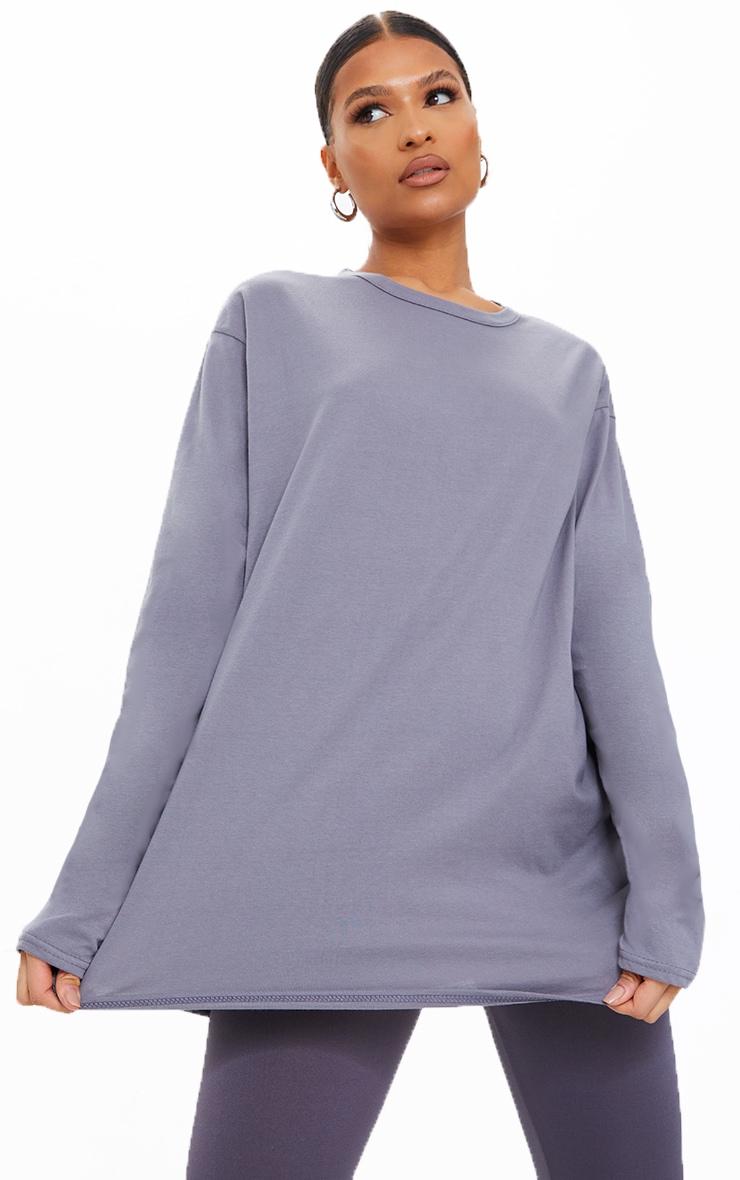 Charcoal Long Sleeve Oversized Boyfriend T Shirt 1