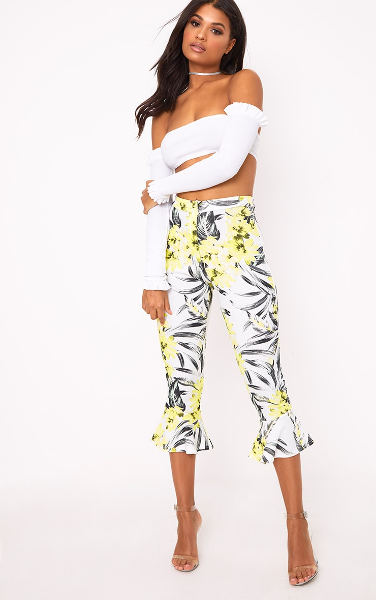 Cream Tropical Floral Flare Hem Trousers 1