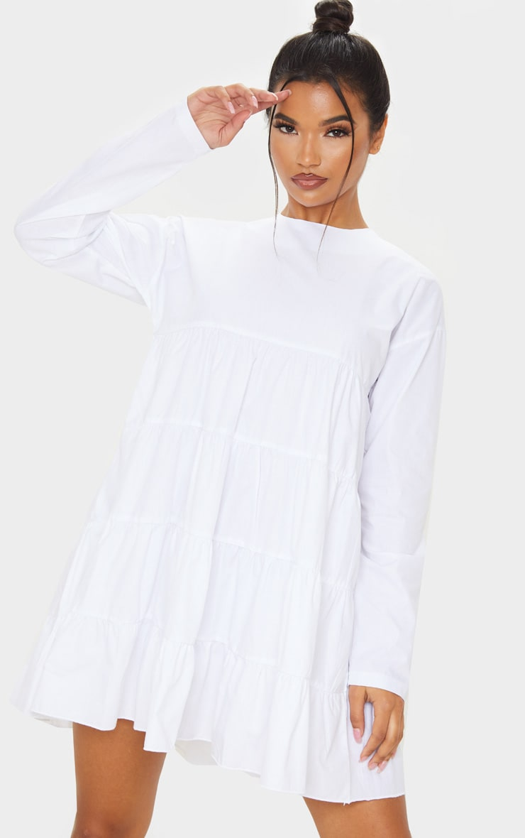 White Tiered Long Sleeve Crew Neck Smock Dress 4