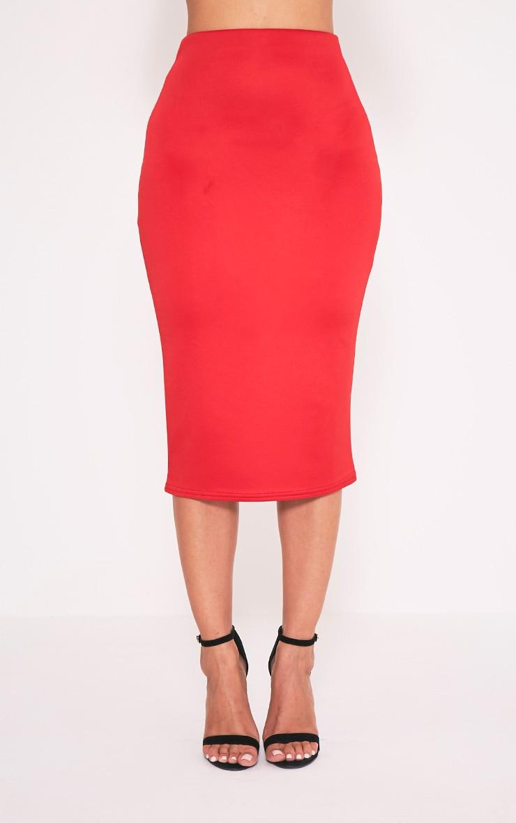 Fillipa Red Scuba Midi Skirt 2