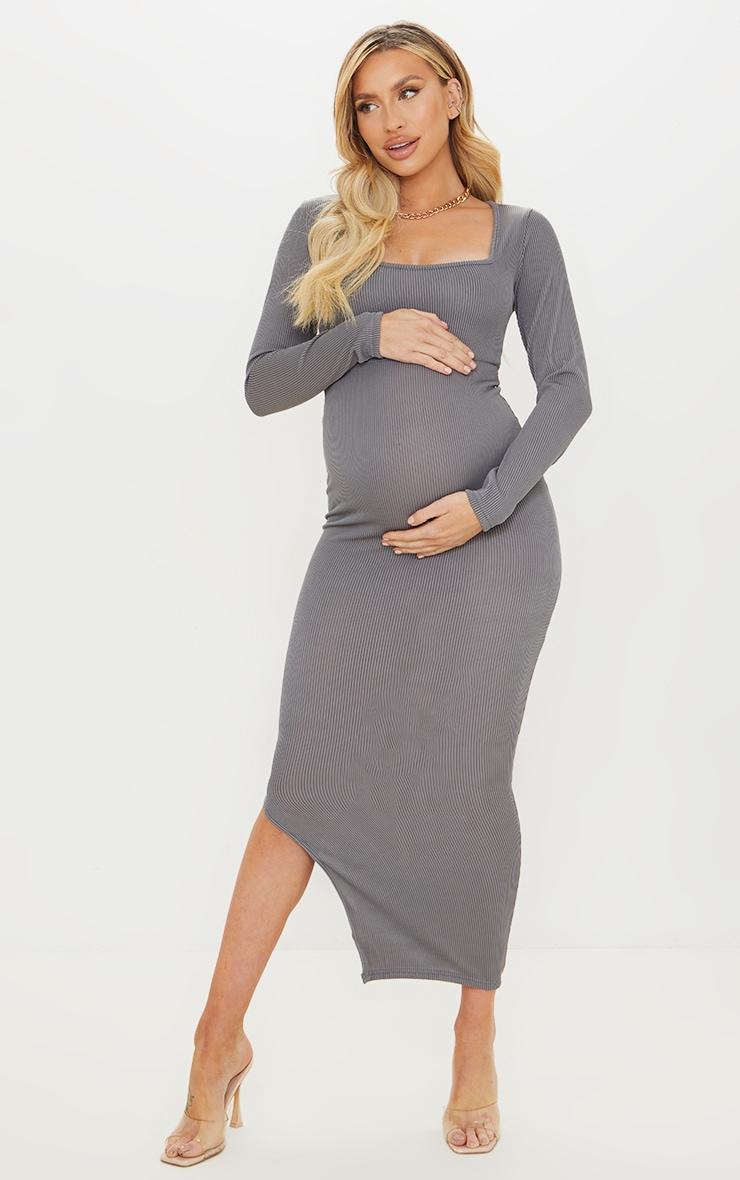 Maternity Slate Ribbed Long Sleeve Side Split Maxi Dress 1