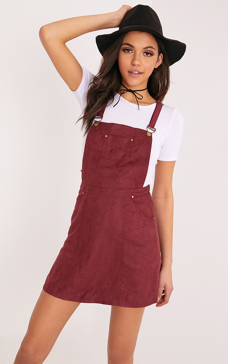 Lumie Burgundy Faux Suede Pinafore Dress 1