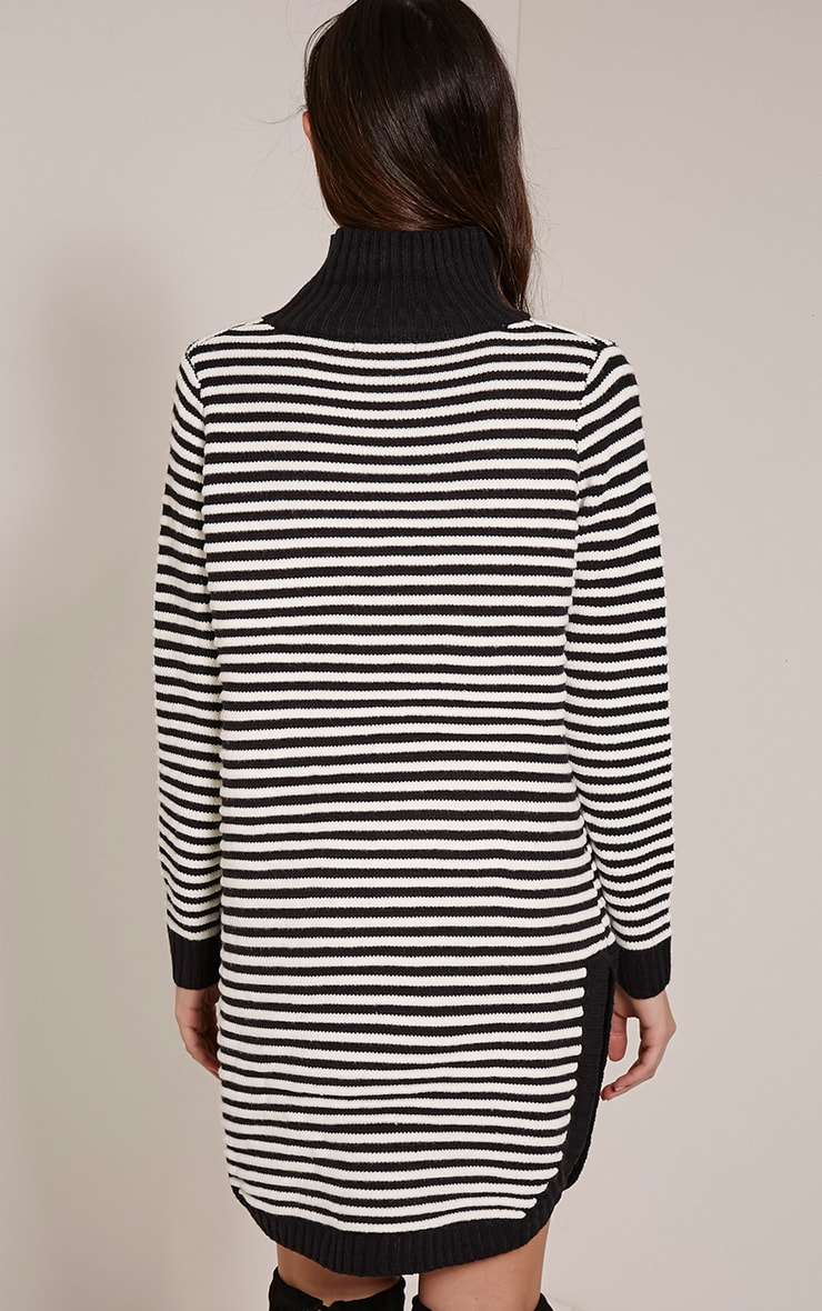 Helena Monochrome Stripe Dolphin Hem Jumper Dress 2
