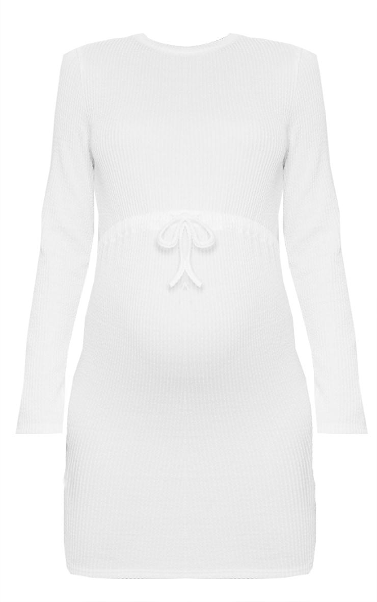Maternity Cream Tie Waist Mini Dress 5